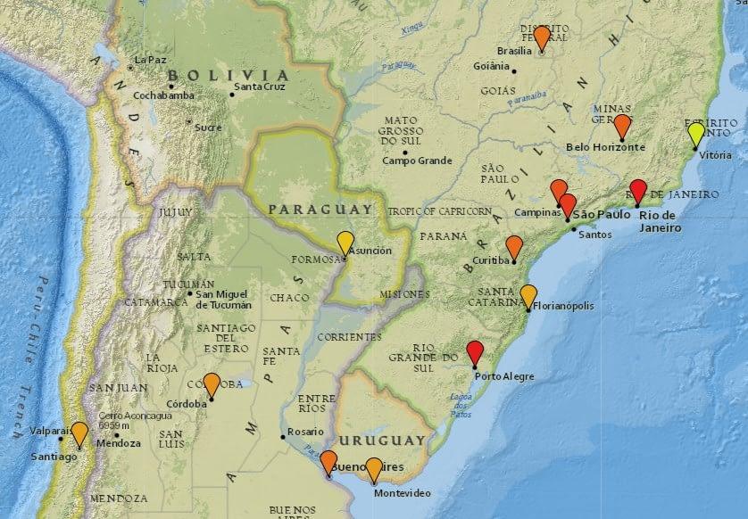 Карта уровня безопасности в Южной Америке